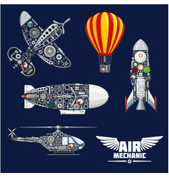 Air mechanics and mechanisms icons set vector