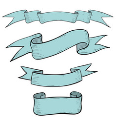 ribbon banners hand drawn blue sketch vector image