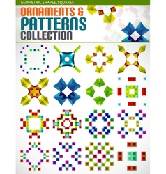 Abstract geometric square patterns shapes set vector