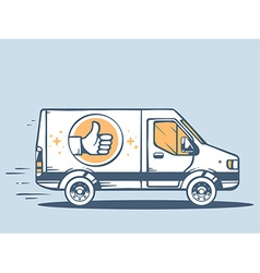 Van best delivering goods to customer on vector