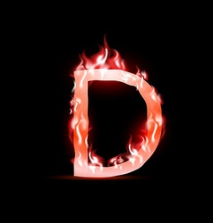 Letter with red fire vector