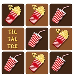 Tic-tac-toe of beverage cup with straw and popcorn vector