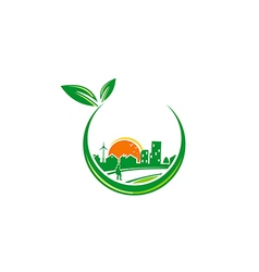 Green town urban city environment logo vector