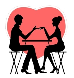 Silhouette of couple in cafe on red heat vector