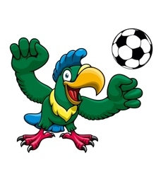Cartoon parrot player with soccer ball vector image