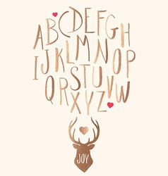 Hand drawn gold leaf letters and stag with hearts vector