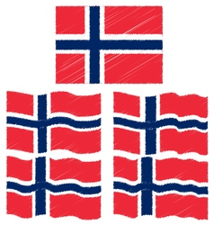 Flat and waving hand draw sketch flag of norway vector