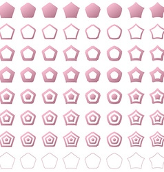 Pink pentagon shape polygon icon set vector