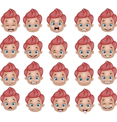 Cartoon funny little boy various face expressions vector