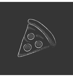 Pizza slice drawn in chalk icon vector