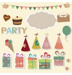 Party design elements for scrapbook vector