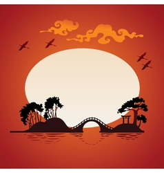 Abstract asian landscape - sunset vector