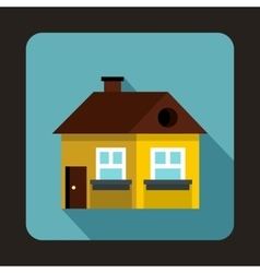 Yellow cottage icon flat style vector
