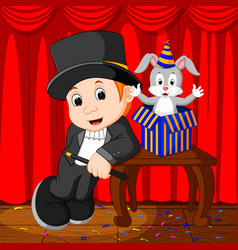 a magician performing on a stage vector image