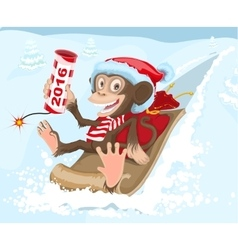 Christmas monkey riding on a sled and keeps petard vector image vector image