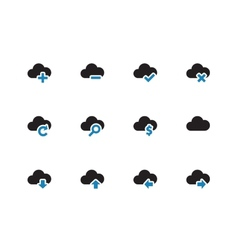 Cloud duotone icons on white background vector