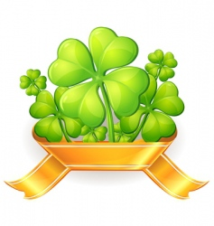 clovers with ribbon vector image vector image