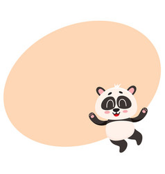 Cute and funny smiling baby panda character vector