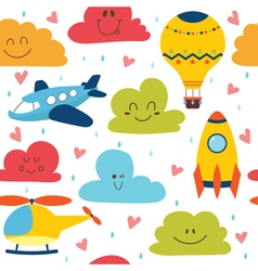 Cute seamless pattern with plane helicopter hot vector