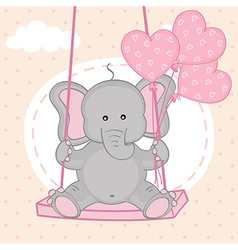 Elephant on swing with balloons vector