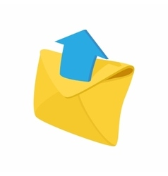 Envelope and blue arrow icon cartoon style vector