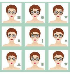 Female face shapes set vector image