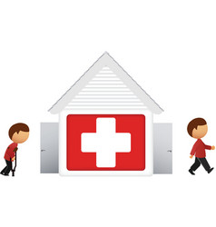 hospital with patient icon vector image