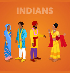 Isometric indian people in traditional clothes vector