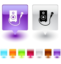 karaoke square button vector image