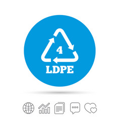 Ld-pe 4 sign icon low-density polyethylene vector
