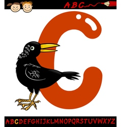 letter c for crow cartoon vector image
