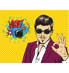 man smile and shows ok hand sign with speech vector image vector image