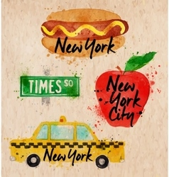 New york symbols taxi kraft vector