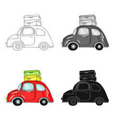red car with a luggage on the roof icon in cartoon vector image