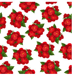 Red flower with leaf floral seamless pattern vector