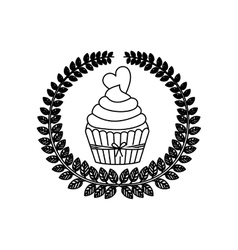 silhouette crown of leaves with cupcake with cream vector image