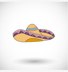 Sombrero icon with round shadow vector