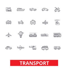 Transport car truck ship tram bus delivery vector