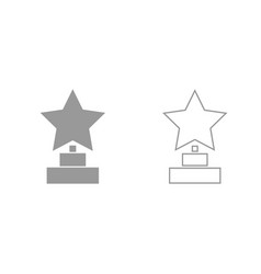 trophy star winner award grey set icon vector image