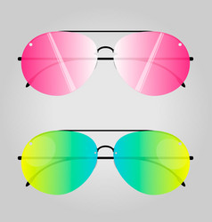 two modern sunglasses isolated on grey background vector image