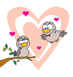 Two turtle doves by a branch in front of a heart vector