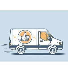 Van best delivering goods to customer on vector