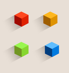 vintage color cubes icons vector image