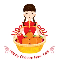 Woman with chinese new year gifts vector