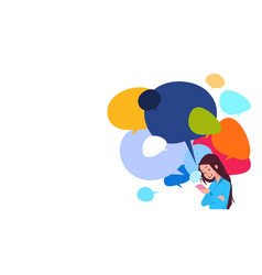 young girl messaging holding cell smart phones vector image