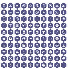 100 tension icons hexagon purple vector
