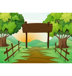 Scene with field and wooden sign vector image