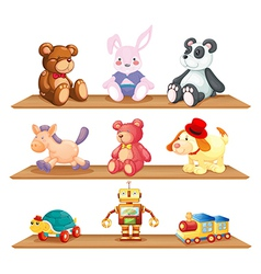 Wooden shelves with different toys vector