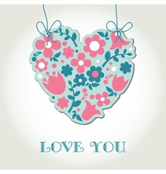 Love greetings card with floral heart vector