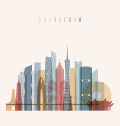 Guangzhou skyline detailed silhouette vector